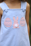 Knit Easter Applique Blue Swing Top Blue Bitty Dot Bubble Short Set