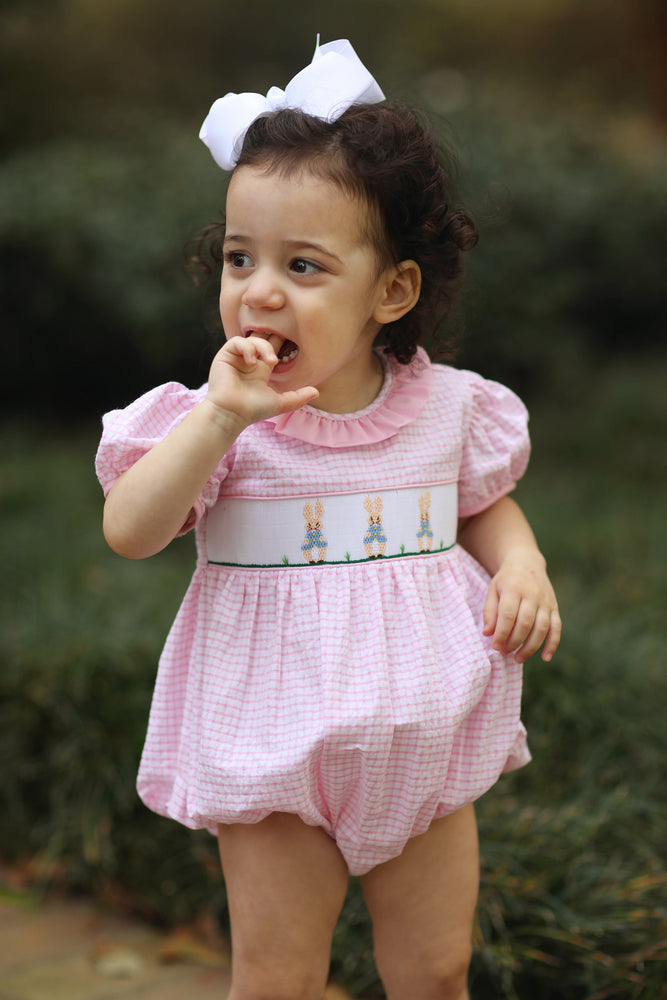 Load image into Gallery viewer, Peter Rabbit Smocked Ruffle Collar Pink Windowpane Bubble