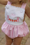 Bunny Garland Applique Pink Gingham Sunsuit with Lace Trim