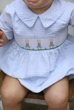 Peter Rabbit Smocked Blue Windowpane Bubble