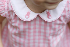 Bunny French Knot Embroidered Pink Gingham Bubble