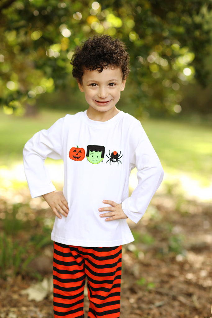 Knit Halloween Applique White Shirt Orange Black Stripe Pant Set