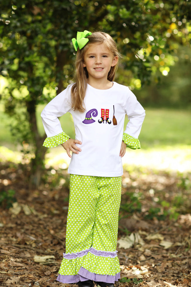 Load image into Gallery viewer, Halloween Applique Shirt Lime Green Dot Ruffle Pant Set