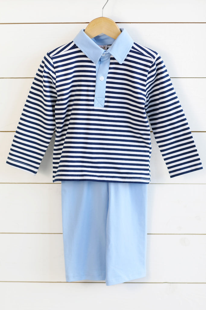 Knit Navy Stripe Collared Shirt Light Blue Pant Set