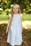 Smocked Cotton Print Bishop Dress