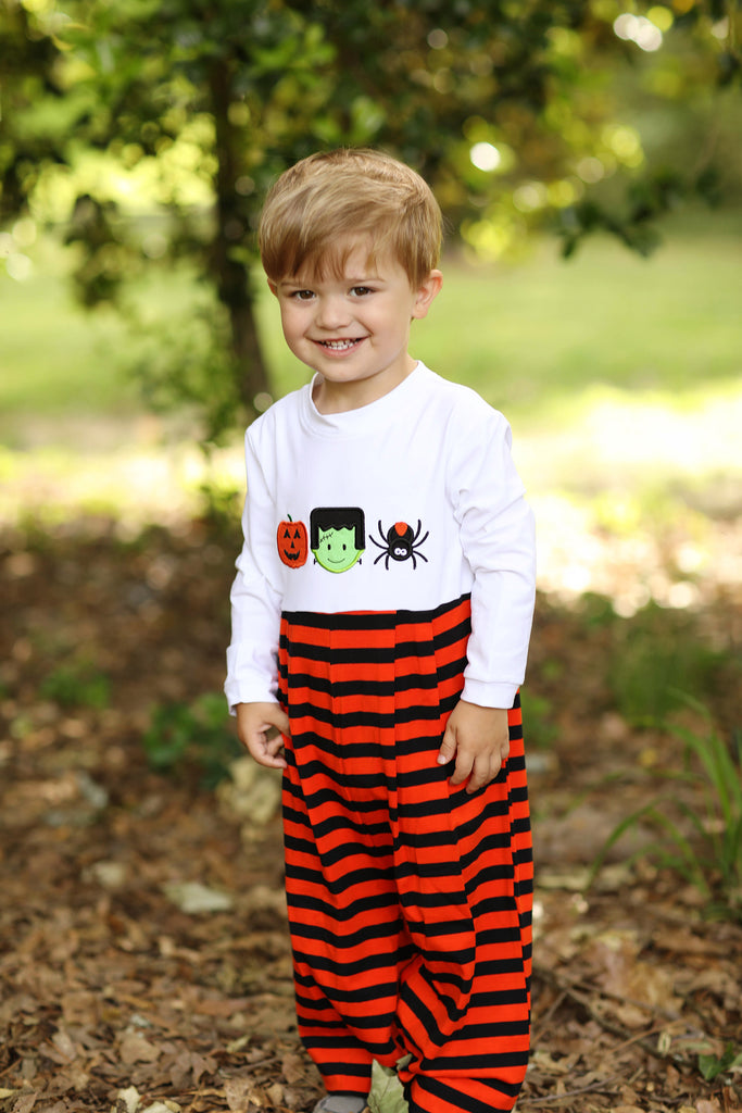 Knit Halloween Applique Orange Black Stripe Boy Long Romper