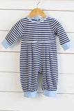Knit Navy Stripe Long Romper with Light Blue Trim
