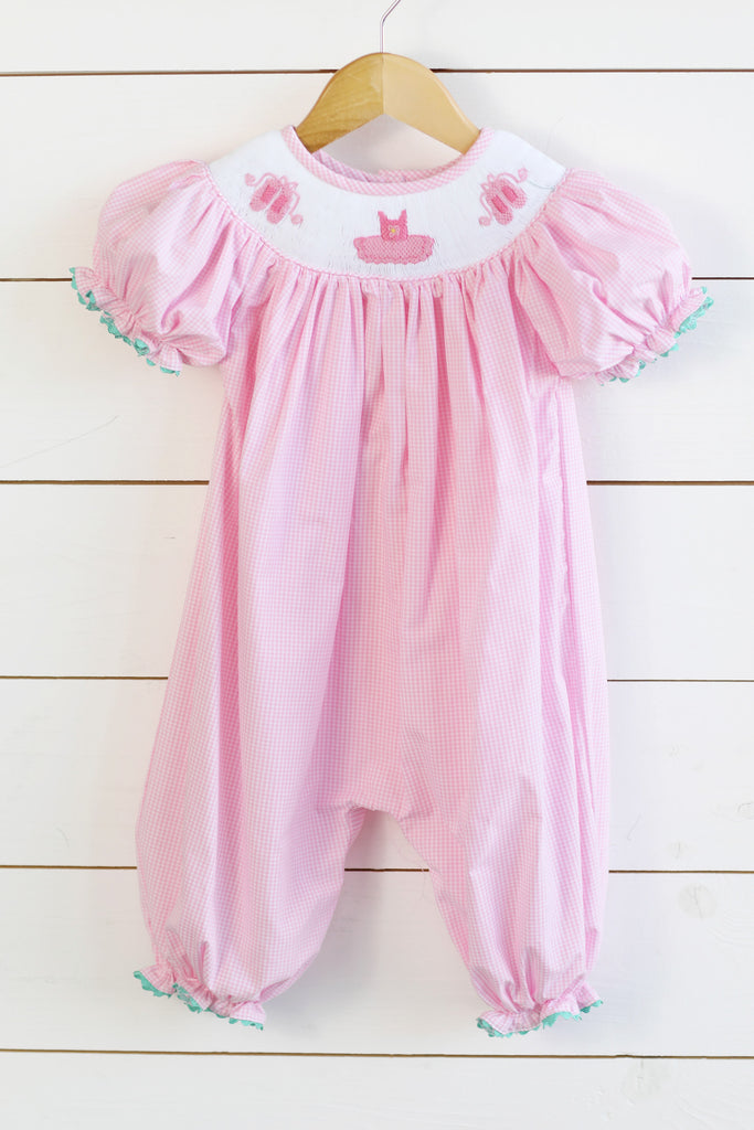Ballerina Smocked Pink Gingham Long Bishop Bubble