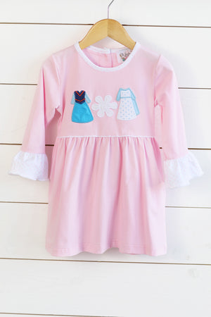 Knit Ice Queen Appliqué Pink Dress with Pink Bitty Dot Ruffles