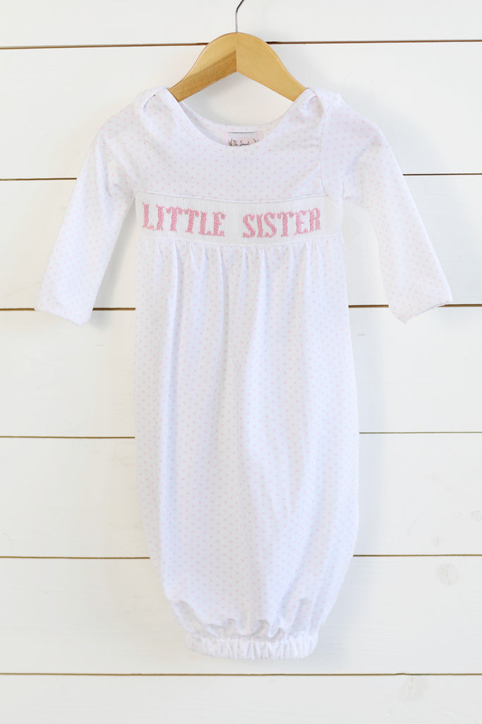 Knit Little Sister Smocked Pink Bitty Dot Gown
