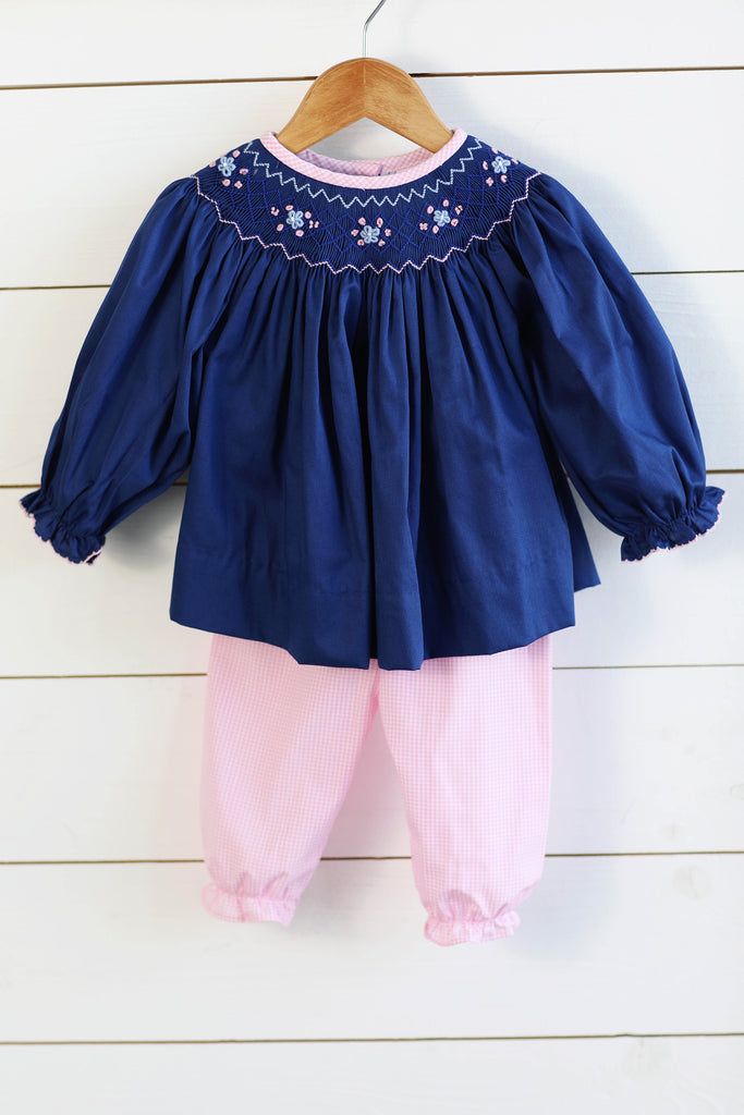 Smocked Navy Pique Bishop Top Pink Gingham Bubble Pant Set