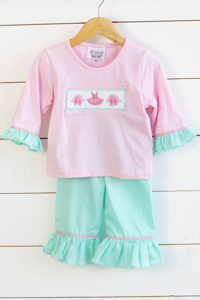 Load image into Gallery viewer, Ballerina Smocked Light Pink Ruffle Shirt Mint Pique Ruffle Pant Set