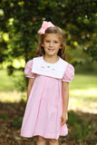 Pumpkin Embroidered Pink Gingham Bib Dress