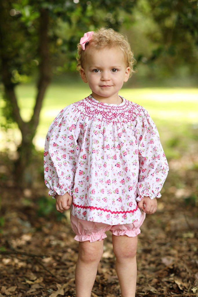 Smocked Pink Floral Long Sleeve Top Pink Bubble Short Set