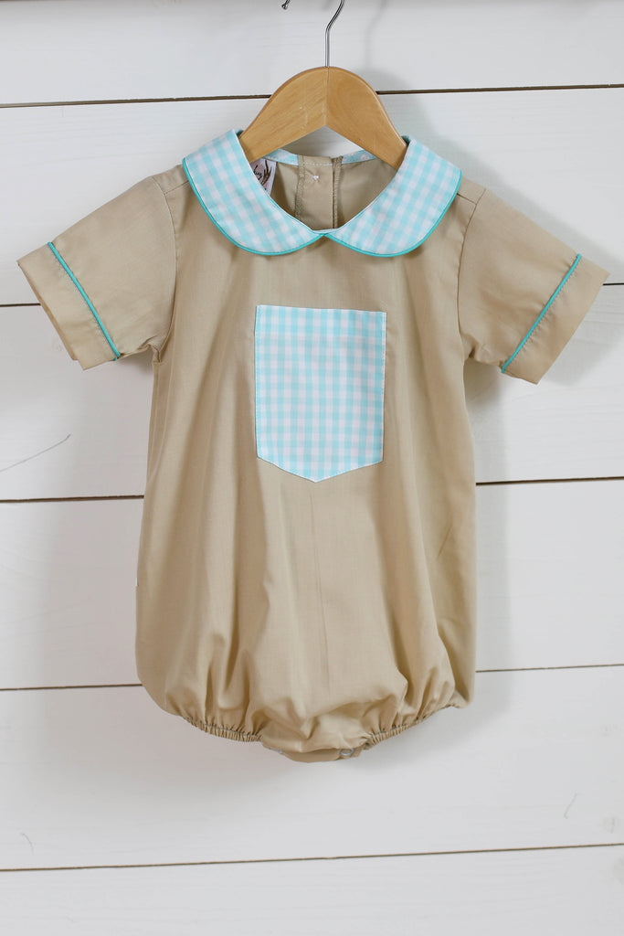 Mint Gingham Collared Tan Bubble