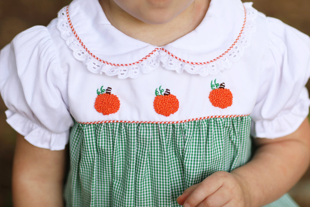 Pumpkin French Knot Embroidery Green Gingham Bubble with Eyelet Lace Trim