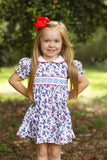 Geometric Smocked Blue Floral Red Trim Collared Dress