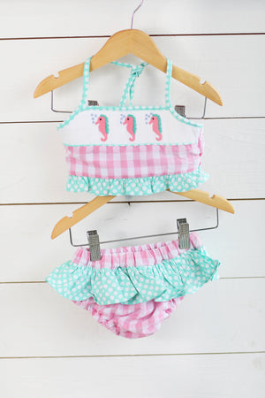 Seahorse Smocked Pink Gingham Mint Dot Two Piece Swimsuit