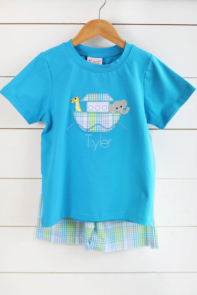 Load image into Gallery viewer, Noah's Ark Applique Aqua Shirt Plaid Short Set