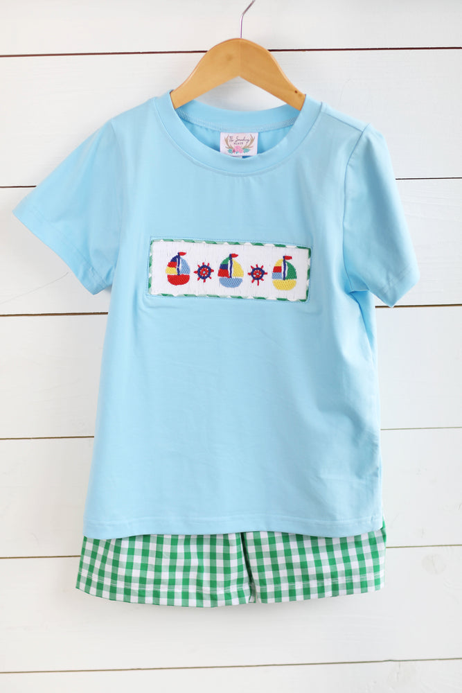 Load image into Gallery viewer, Regatta Smocked Blue Shirt Green Gingham Short Set