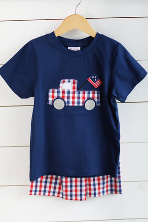 Patriotic Truck Applique Navy Shirt Red and Blue Gingham Short Set