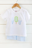 Knit Ice Cream Applique White Shirt Blue Gingham Short Set