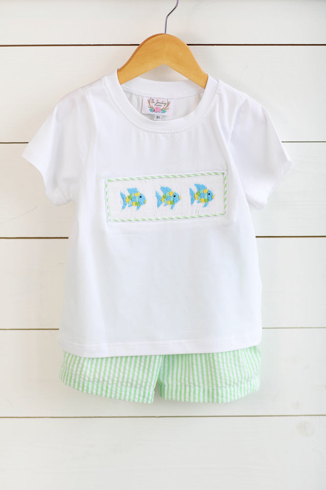 Rainbow Fish Smocked White Shirt Green Seersucker Short Set