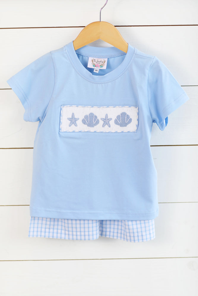 Load image into Gallery viewer, Seashell Smocked Blue Shirt Blue Windowpane Short Set