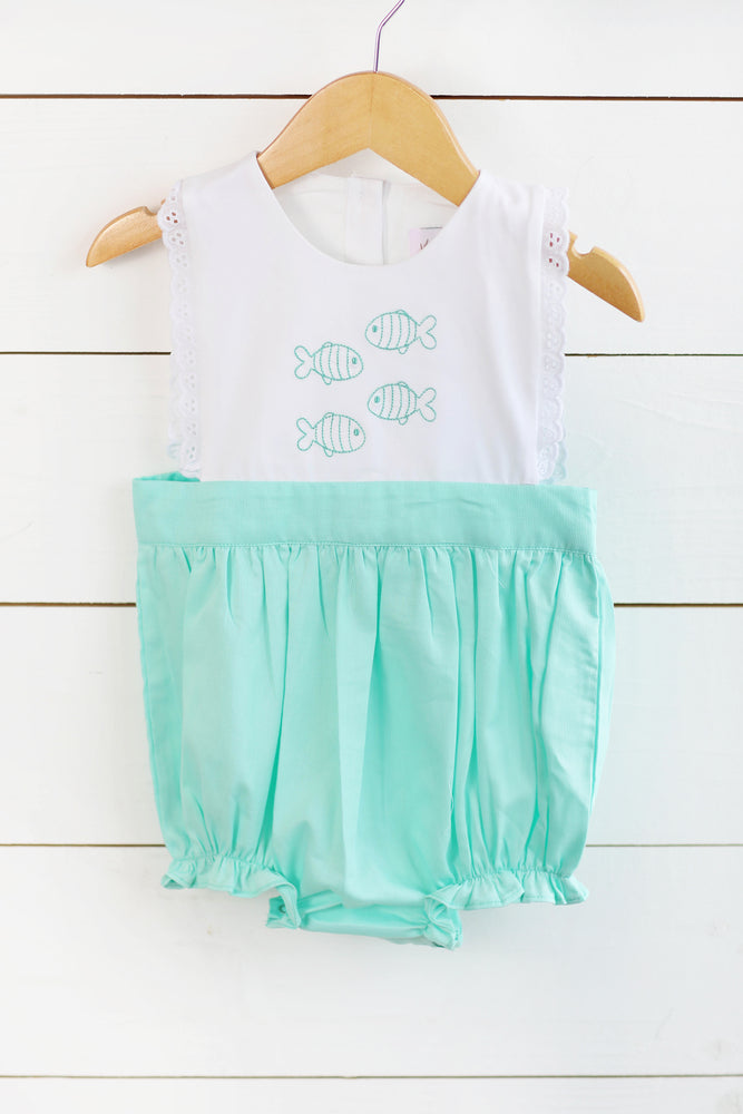 Little Fish Embroidered Mint Pique Bubble with Eyelet Lace Trim
