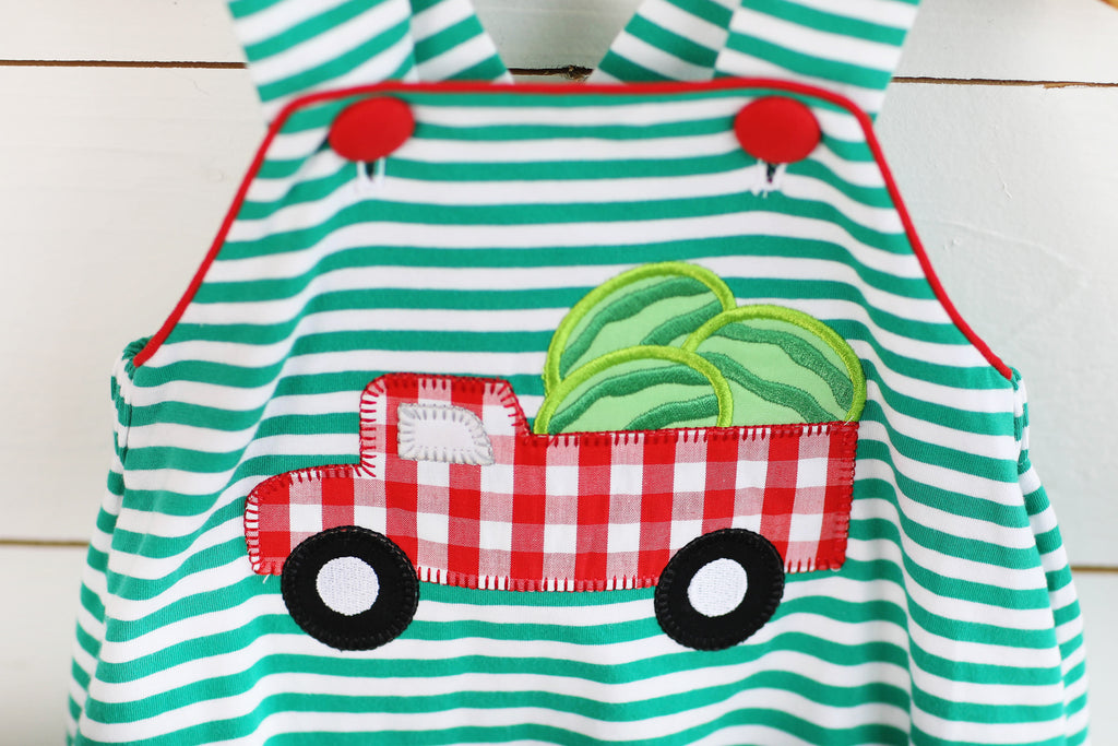 Knit Watermelon Applique Green Stripe Bubble