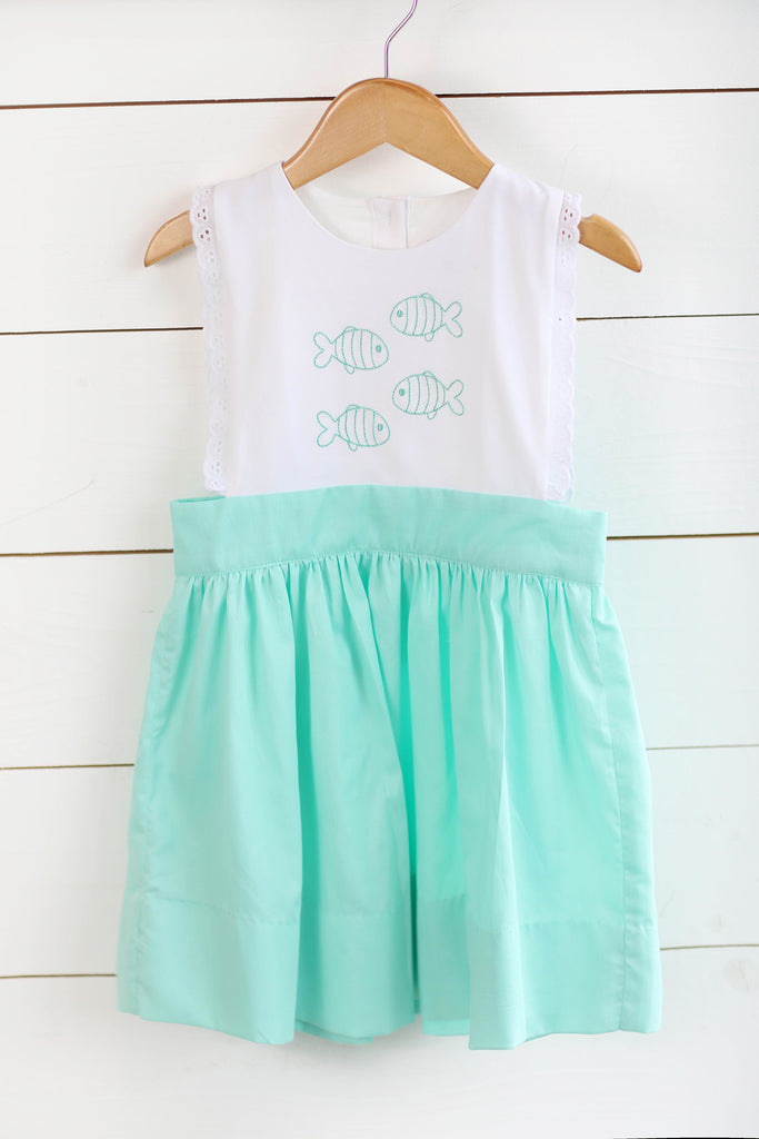 Little Fish Embroidered Mint Pique Dress with Eyelet Lace Trim