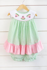 Watermelon Smocked Pink Ruffle Bishop Top Green Seersucker Bubble Short Set