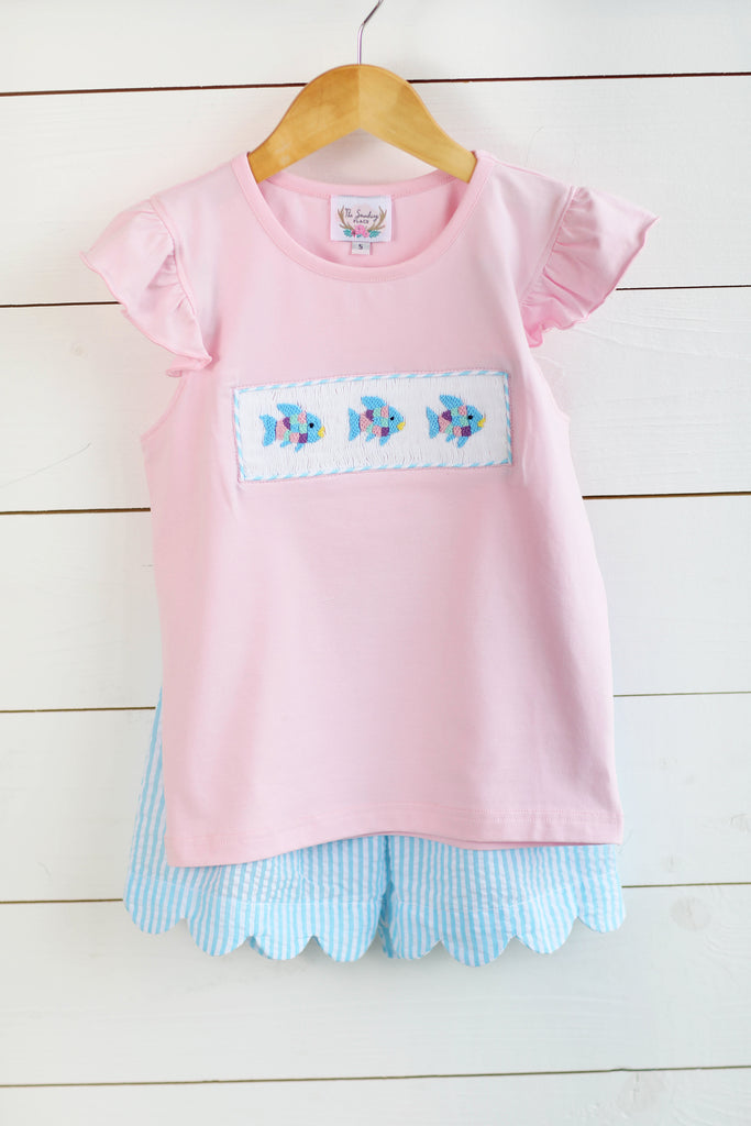 Rainbow Fish Smocked Pink Shirt Aqua Seersucker Scalloped Short Set