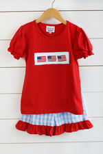 Flag Smocked Red Shirt Blue Gingham Seersucker Ruffle Short Set with Red Trim