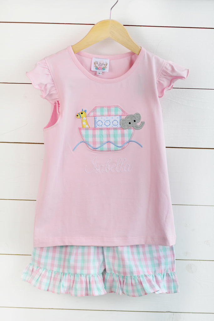 Noah's Ark Applique Pink Shirt Plaid Ruffle Short Set