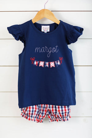 Patriotic Garland Applique Navy Angel Wing Shirt Red and Blue Gingham Bubble Short Set