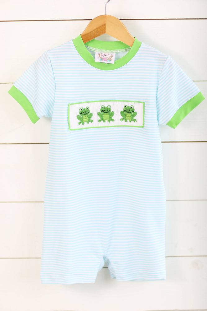 Load image into Gallery viewer, Knit Frog Smocked Blue Stripe Romper