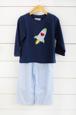 Load image into Gallery viewer, Rocket Heart Applique Navy Shirt Blue Gingham Pant Set