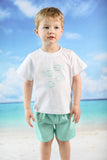 Little Fish Embroidered Mint Pique Short Set