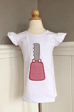 Girl Cowbell Applique Angel Wing Knit Shirt