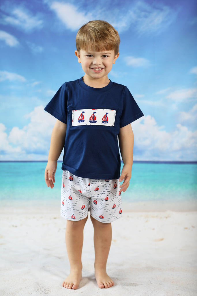 Sailboat Smocked Navy Shirt Printed Short Set