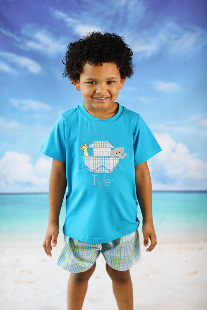 Noah's Ark Applique Aqua Shirt Plaid Short Set