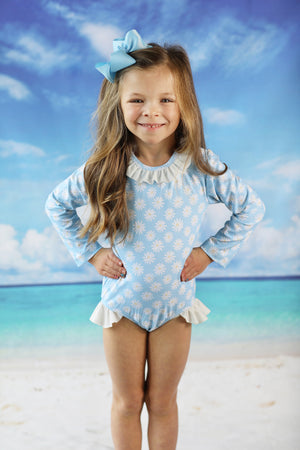 Daisy White Ruffle Trim Rashguard One Piece