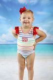 Rainbow Stripe Red Ruffle Trim Swimsuit