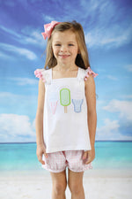 Knit Ice Cream Applique White Tank with Pom Pom Trim Pink Gingham Banded Short Set