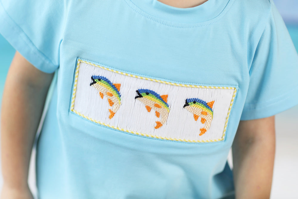 Rainbow Trout Smocked Blue Shirt Yellow Gingham Short Set