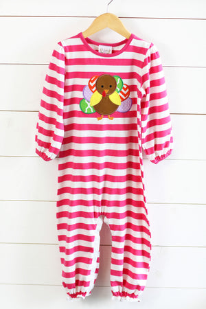 Load image into Gallery viewer, Knit Hot Pink Stripe Turkey Applique Romper