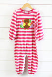 Knit Hot Pink Stripe Turkey Applique Romper