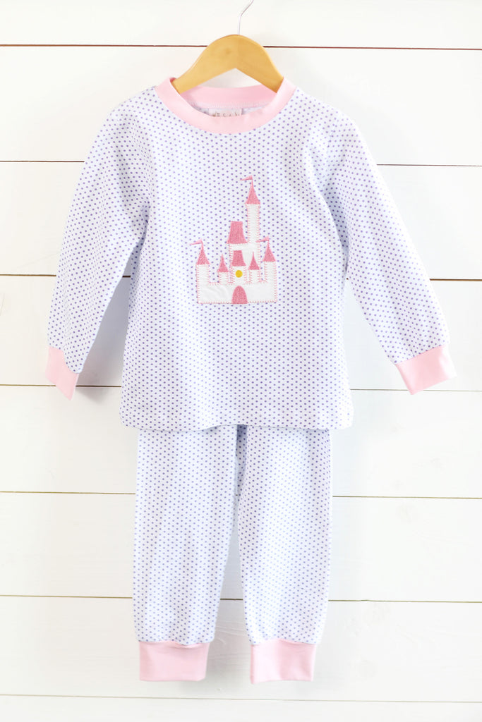 Knit Castle Applique Lavender Bitty Dot Lounge Wear
