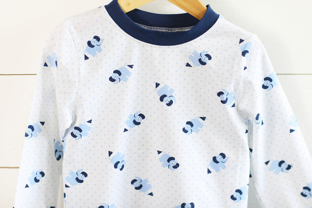 Knit Elephant Blue Bitty Dot Lounge Wear